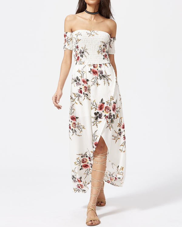 Bliss Bohemian Off the Shoulder Dress - White | Flirtyfull.com
