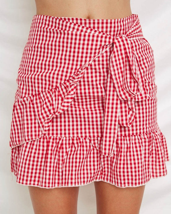 Blow a Kiss Wrap Skirt - Red Gingham | Flirtyfull.com