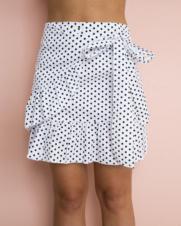 Blow a Kiss Polka Dot Wrap Skirt - White | Flirtyfull.com