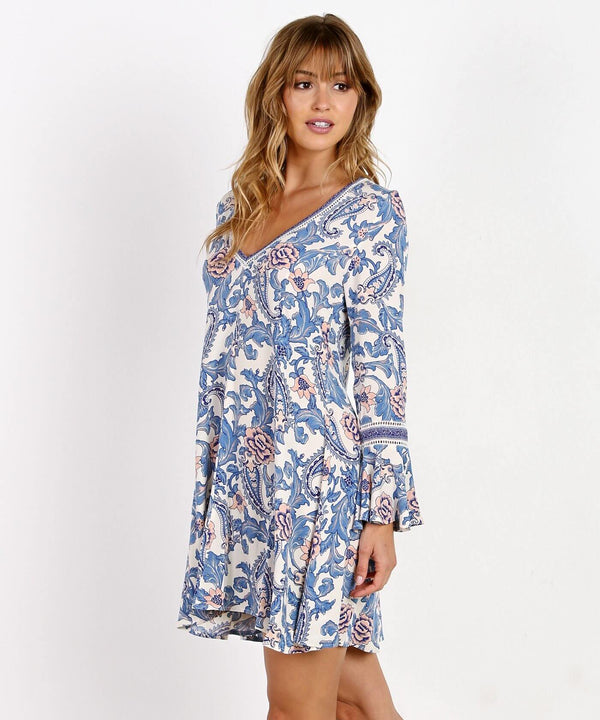 Marvel Bohemian Mini Dress - Blue | Flirtyfull.com