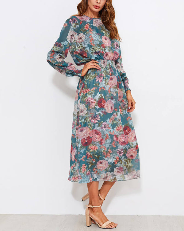 Bluebell Floral Two Pieces Midi Dress | Flirtyfull.com