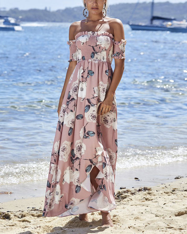 Bring It All Back Off the Shoulder Boho Maxi Dress - Pink | Flirtyfull.com