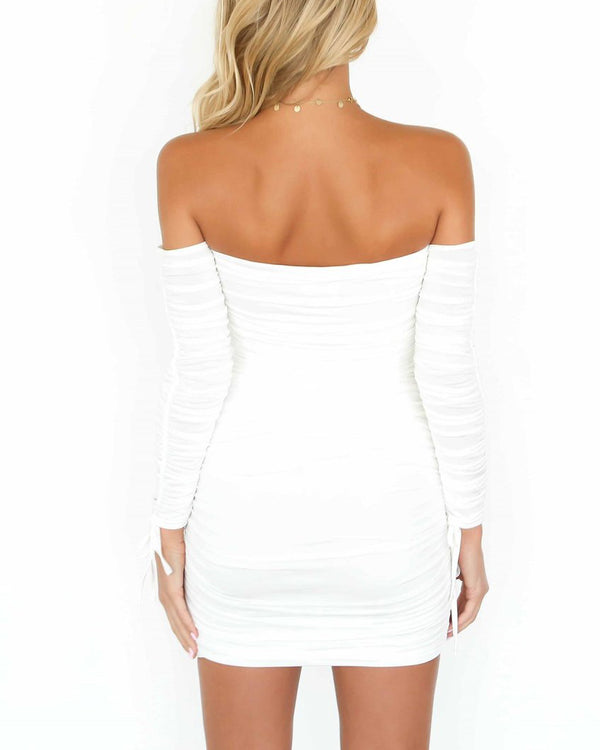 Broke & Famous Ruched Sexy Dress - White | Flirtyfull.com