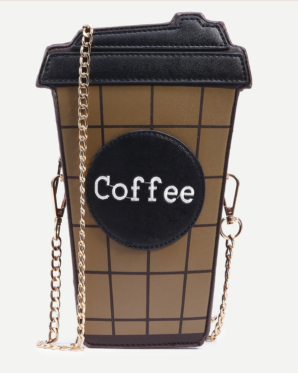 Coffee Shape Crossbody Kawaii Bag - Brown | Flirtyfull.com