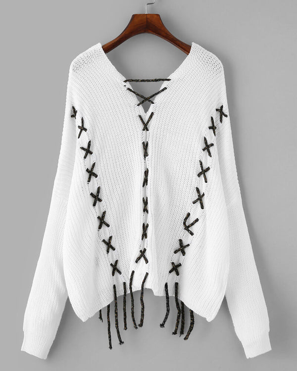 Busy Bee Criss Cross Lace Up Sweater - White | Flirtyfull.com
