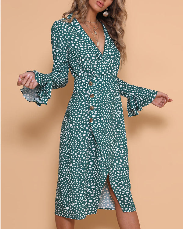 Tipsy Polka Dot Midi Dress - Green | Flirtyfull.com