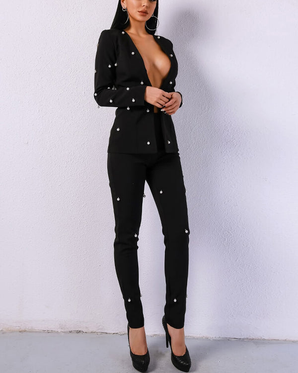Cape Town Pearl Beaded Two Pieces Suit - Black | Flirtyfull.com