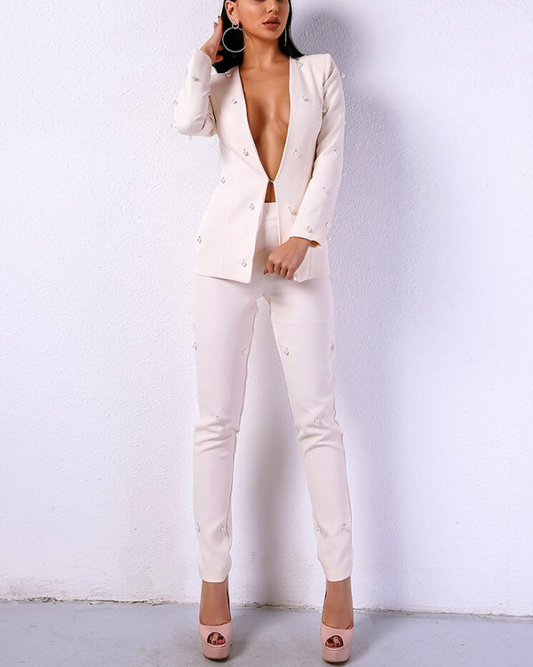 Cape Town Pearl Beaded Two Pieces Suit - White | Flirtyfull.com