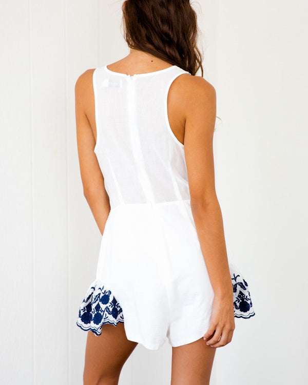 Chandelier Embroidery Cut Out Playsuit - Navy & White | Flirtyfull.com