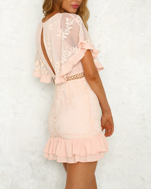 Chant d'Amour Chiffon Batwing Sleeve Dress - Pink | Flirtyfull.com