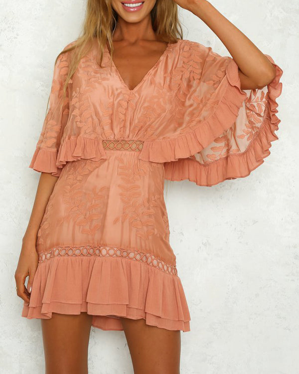 Chant d'Amour Chiffon Batwing Sleeve Dress - Peach | Flirtyfull.com