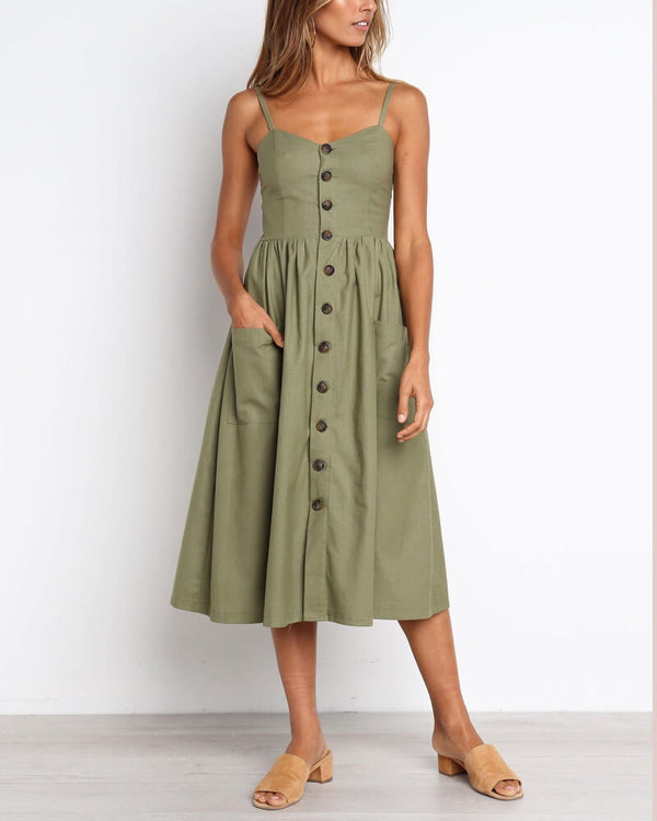 Charlenne Midi Dress with Pockets - Army Green | Flirtyfull.com