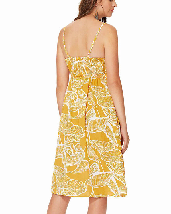 Charlenne Floral Midi Dress with Pockets - Yellow | Flirtyfull.com