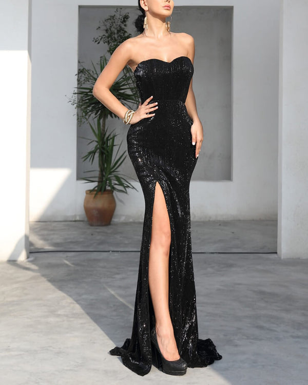 Charmer Strapless Sequin Dress with High Slit - Black | Flirtyfull.com