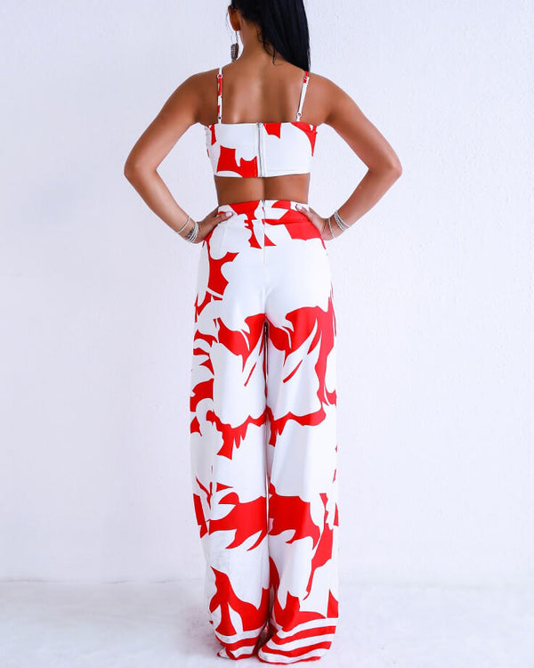 Chenai Cut Out Jumpsuit - Red & White | Flirtyfull.com