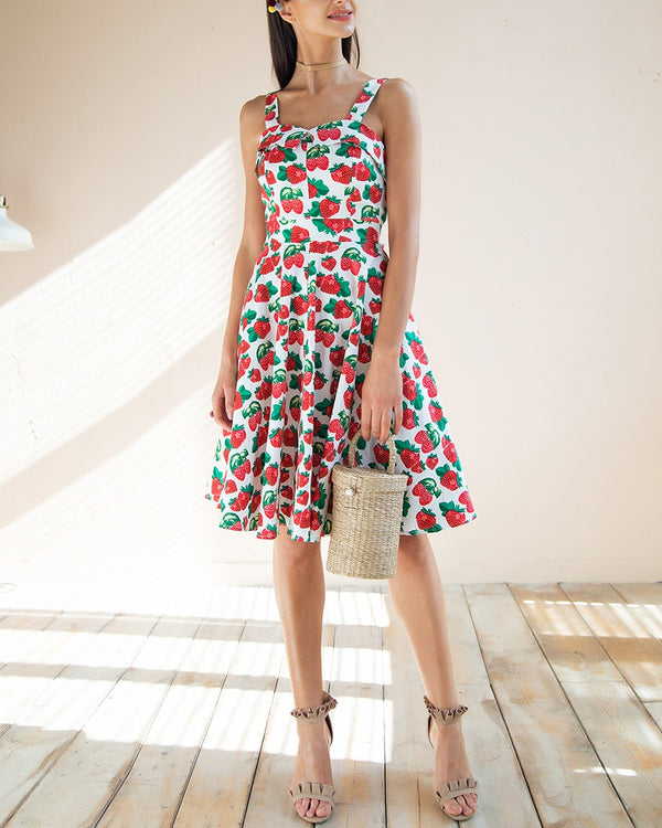 Chiquitita Cherry Print Summer Midi Dress - White | Flirtyfull.com