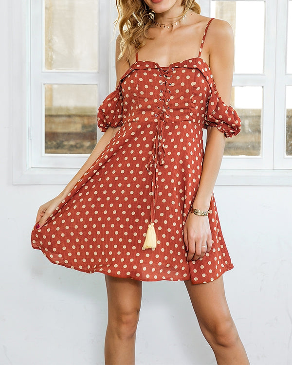 Confetti Cold Shoulder Polka Dot Dress - Orange | Flirtyfull.com