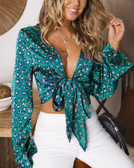 Crave You Satin Leopard Crop Blouse - Green | Flirtyfull.com