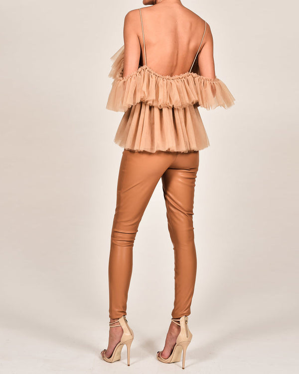 DayDream Tulle Blouse with Tiered Ruffles - Nude | Flirtyfull.com