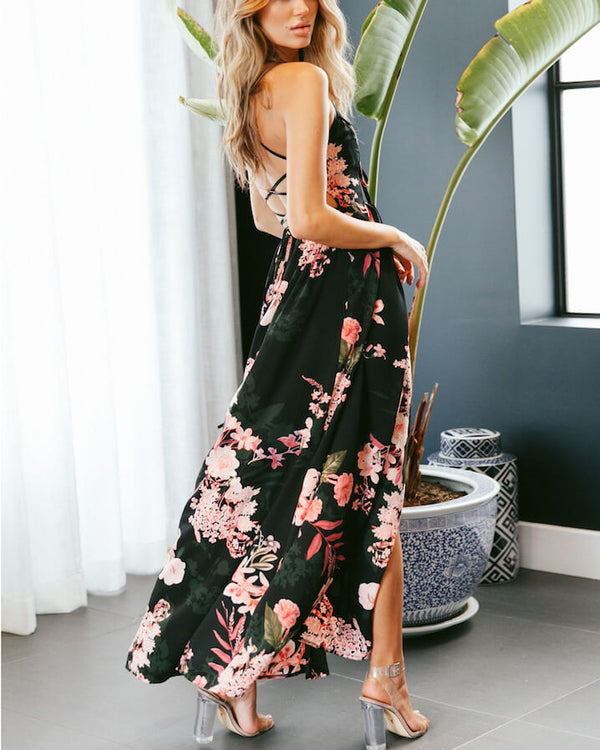 Deadroses Lace Up Back Maxi Floral Dress -Black | Flirtyfull.com