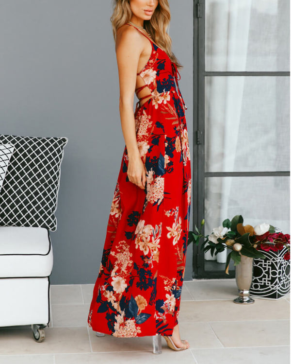 Deadroses Lace Up Back Maxi Floral Dress - Red | Flirtyfull.com