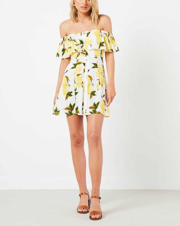 Deanna Lemon Print Off the Shoulder Mini Dress | Flirtyfull.com