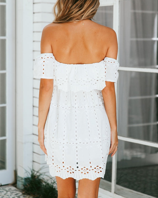 Dee Dee Hollow Out Off the Shoulder Dress - White | Flirtyfull.com