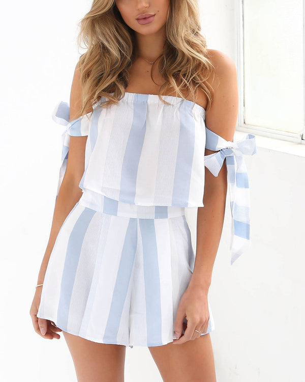 Delta Striped Two Pieces Set - Blue | Flirtyfull.com