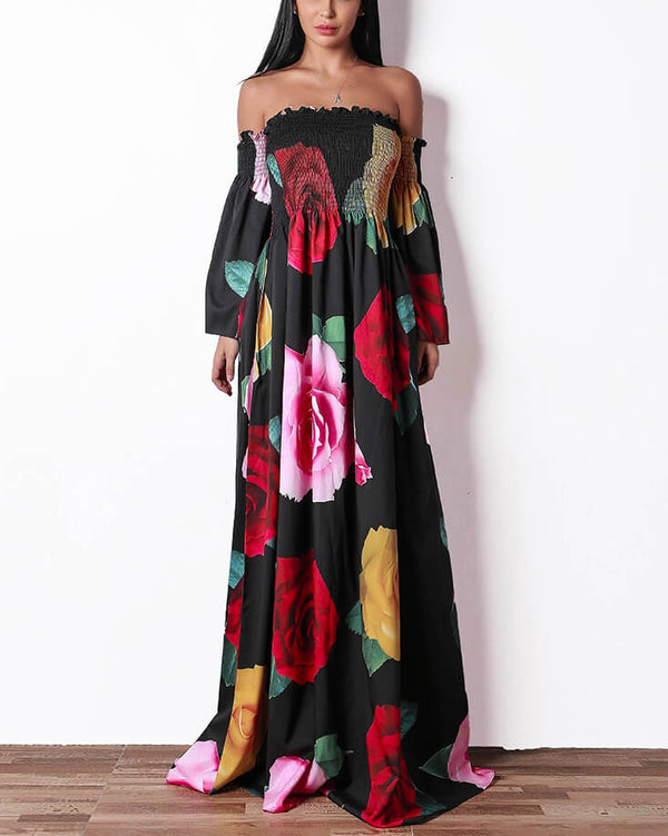 Drive Me Out of My Mind Floral Maxi Dress - Black | Flirtyfull.com
