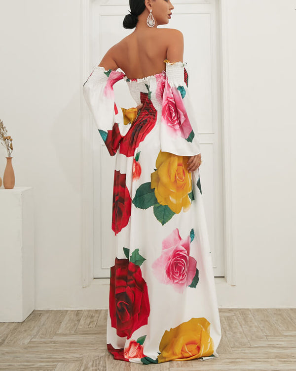 Drive Me Out of My Mind Floral Maxi Dress - White | Flirtyfull.com