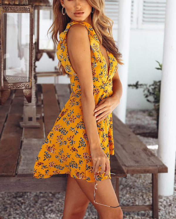 Drummer Boho Mini Floral Dress - Yellow | Flirtyfull.com