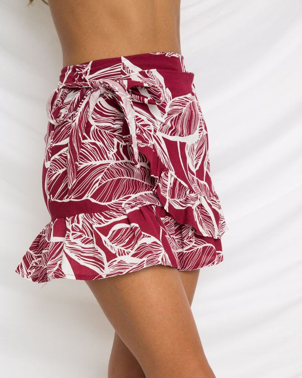 Dulcet Tropical Wrap Mini Skirt - Red | Flirtyfull.com