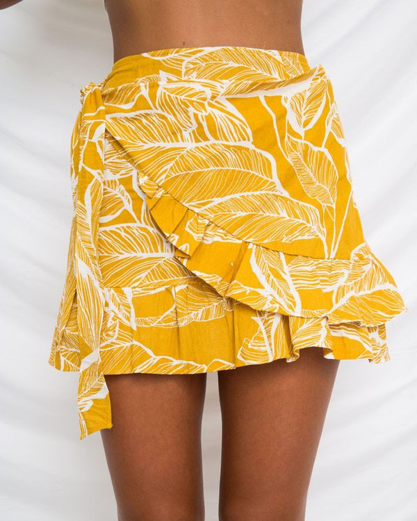 Dulcet Tropical Wrap Mini Skirt - Yellow | Flirtyfull.com