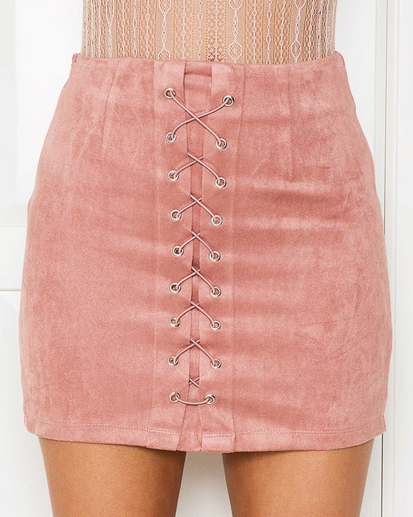Effervescent Suede Lace Up Mini Skirt - Pink | Flirtyfull.com