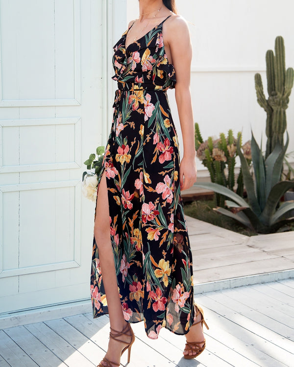 Fiji Floral Print Beach Dress - Black | Flirtyfull.com