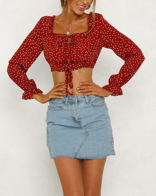 Fireflies Polka Dot Crop Blouse - Red | Flirtyfull.com