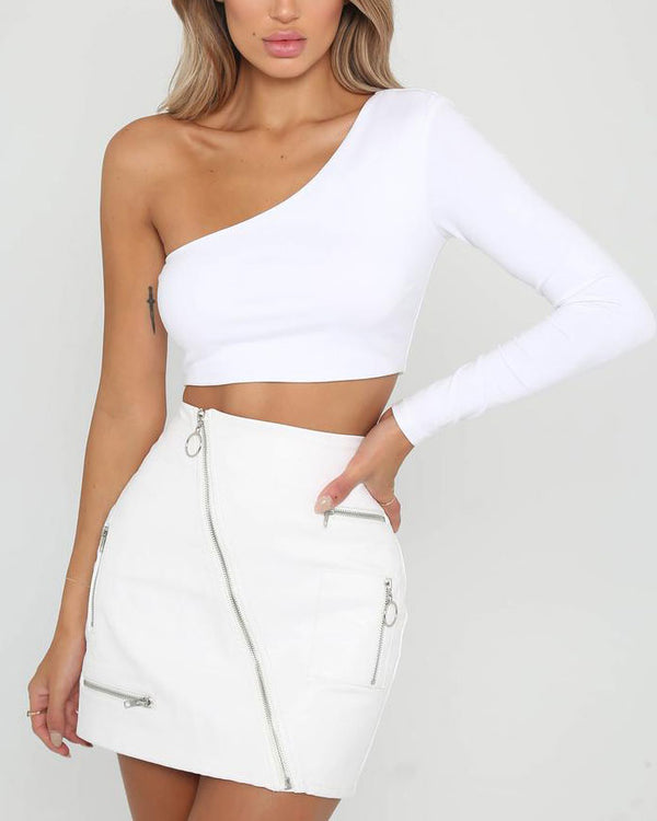 Floorfiller Asymmetrical One Shoulder Crop Top - White | Flirtyfull.com