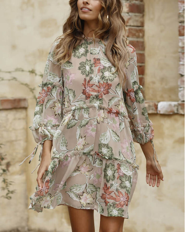 Frieda Long Sleeve Boho Dress - Beige | Flirtyfull.com