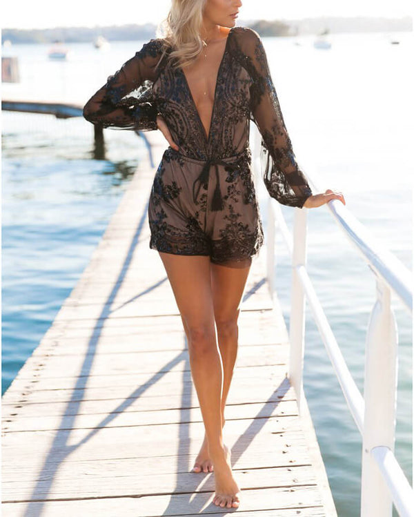 Full House Sequined Embroidery Playsuit - Black | Flirtyfull.com