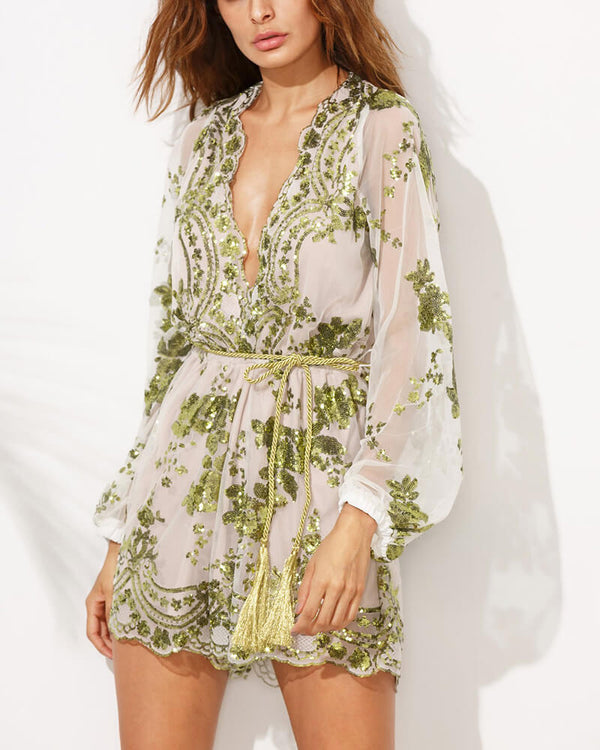 Full House Sequined Embroidery Playsuit - Green | Flirtyfull.com