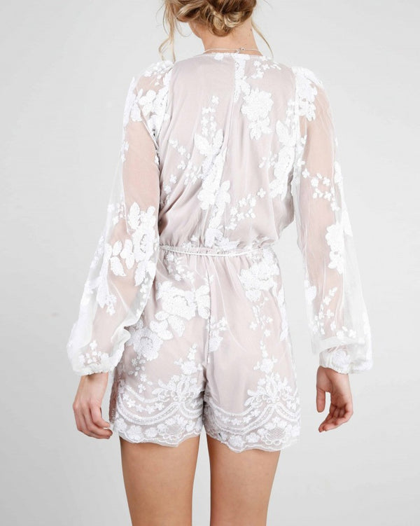 Full House Sequined Embroidery Playsuit - White | Flirtyfull.com