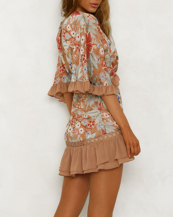 Galiana Half Sleeve Floral Dress - Beige | Flirtyfull.com