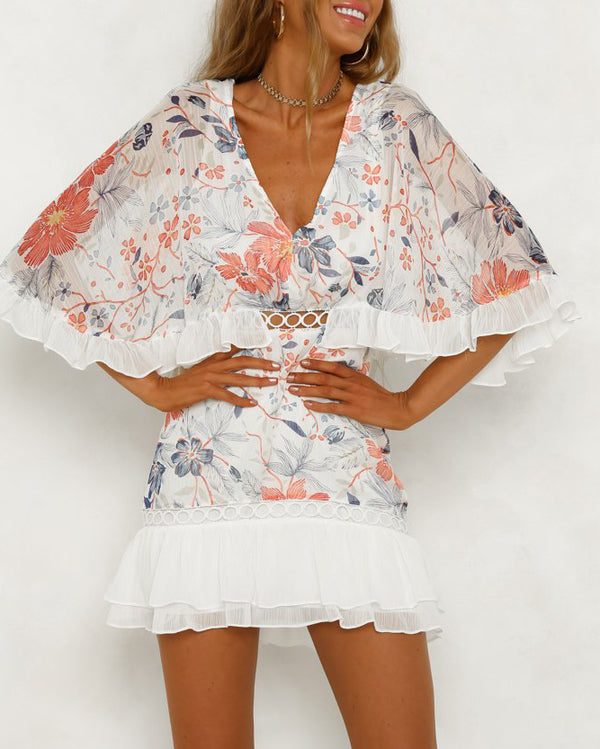 Galiana Half Sleeve Floral Dress - White | Flirtyfull.com