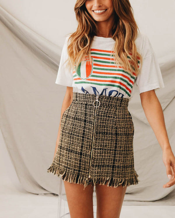 Gia Tweed High Waisted Vintage Plaid Skirt | Flirtyfull.com