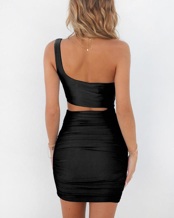 Giulia One Shoulder Bodycon Sexy Dress - Black | Flirtyfull.com