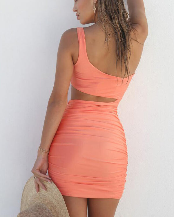 Giulia One Shoulder Bodycon Sexy Dress - Orange | Flirtyfull.com