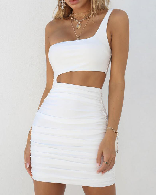 Giulia One Shoulder Bodycon Sexy Dress - White | Flirtyfull.com