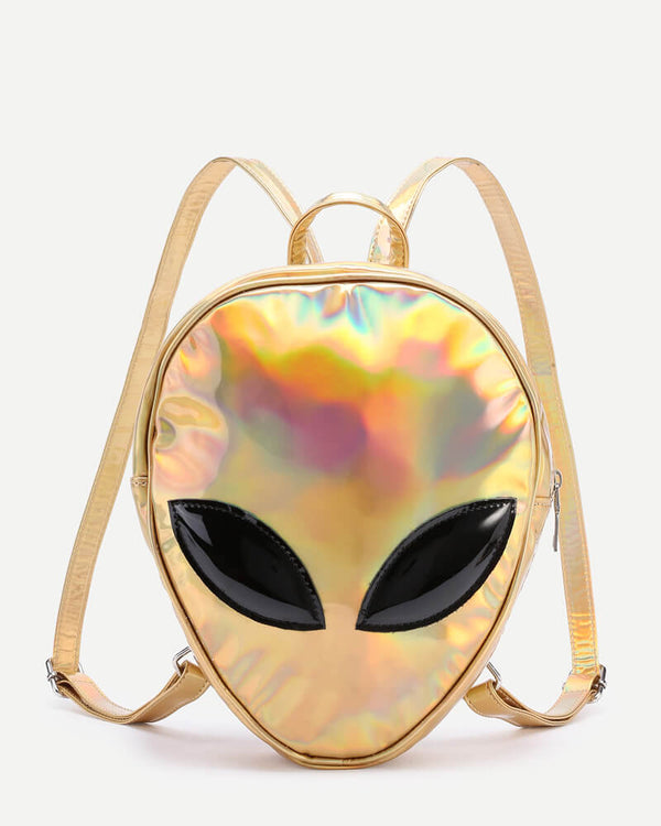 Alien Kawaii Holographic Backpack - Gold | Flirtyfull.com