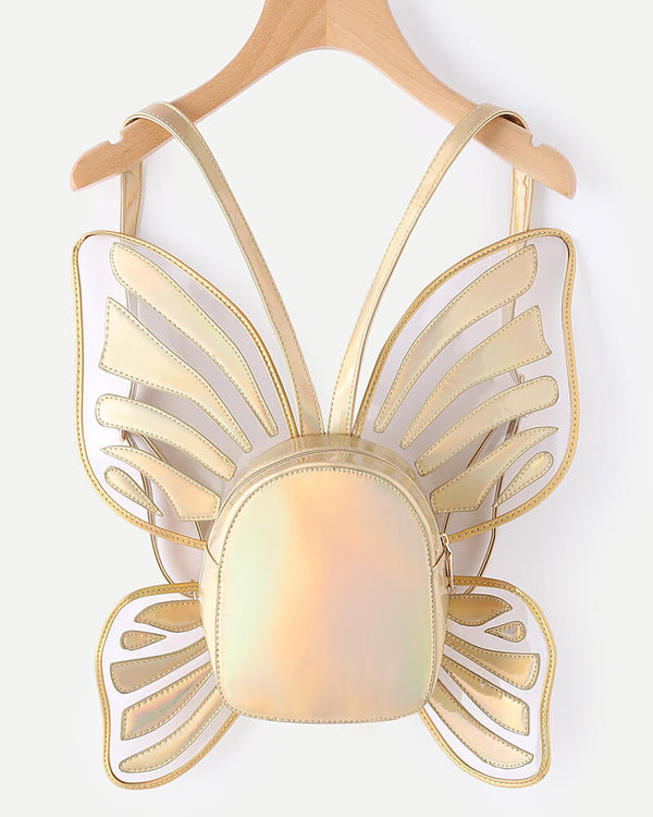 Butterfly Wings Harajuku Novelty Backpack - Gold | Flirtyfull.com