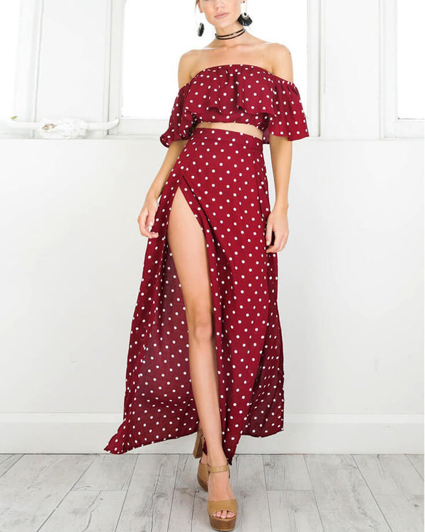Gold Digger Red Polka Dot Two Pieces Set | Flirtyfull.com